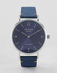 Часы с темно-синим кожаным ремешком Reclaimed Vintage Inspired 42 мм эксклюзивно для ASOS - Темно-синий