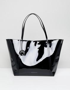 Черная лакированная сумка-тоут Armani Exchange - Черный