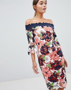 Кружевное платье-футляр с открытыми плечами и цветочным принтом Paper Dolls - Мульти