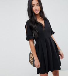 Свободное платье мини с V-образным вырезом и оборками на рукавах ASOS DESIGN Petite - Черный