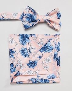 Галстук-бабочка и платок-паше розового цвета с цветочным принтом ASOS DESIGN Wedding - Розовый