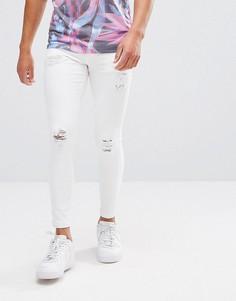 Белые обтягивающие джинсы с рваной отделкой 11 Degrees - Белый