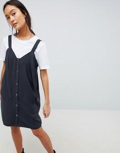 Платье-комбинация мини на кнопках ASOS DESIGN - Серый