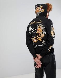 Худи на молнии с вышивкой дракона Maharishi Signature - Черный