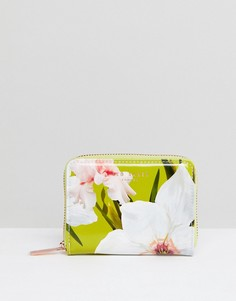 Маленький кошелек на молнии с цветочным принтом Ted Baker - Зеленый