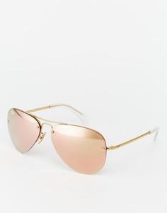 Солнцезащитные очки-авиаторы с зеркальными стеклами Ray-Ban 0RB3449 - Золотой