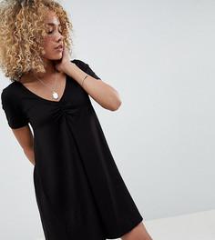 Свободное платье со сборками ASOS DESIGN Petite - Черный