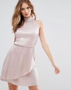 Платье мини с высоким воротом и запахом на юбке Oh My Love - Фиолетовый