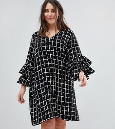 Свободное платье с принтом и ярусными оборками на рукавах Lovedrobe - Мульти