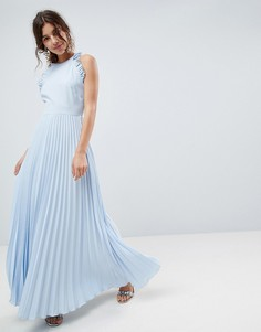 Плиссированное платье макси с открытой спиной и оборкой ASOS - Синий
