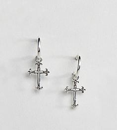 Серебряные серьги-кольца с крестом Reclaimed Vintage эксклюзивно для ASOS - Серебряный