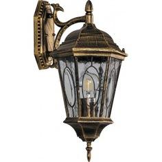 Садово-парковый светильник, шестигранный на стену вниз 60w e27 230v, черное золото feron pl161 11328