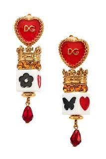 Серьги-клипсы с эмалью и кристаллами Dolce&;Gabbana