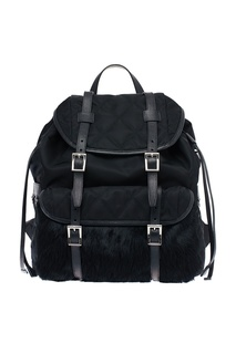 Текстильный рюкзак с меховым карманом Prada