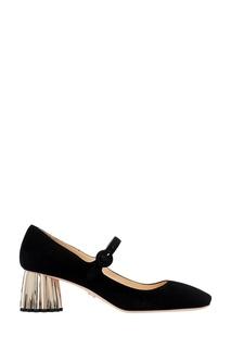 Черные замшевые туфли на фигурном каблуке Prada