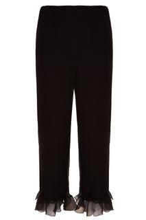 Черные шелковые брюки с воланами Prada