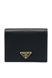 Черный кошелек из сафьяновой кожи Prada