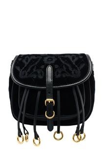 Бархатная поясная сумка с вышивкой Prada
