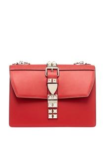 Красная кожаная сумка с шипами Elektra Prada