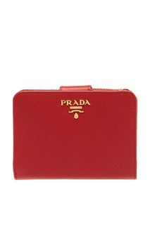 Красный складной кошелек из кожи Prada