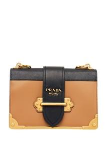 Комбинированная сумка из кожи Cahier Prada