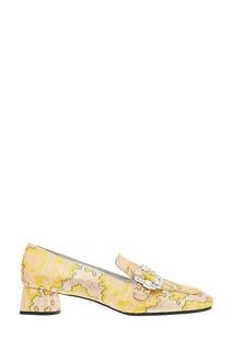 Желтые туфли из жаккарда с люрексом Prada