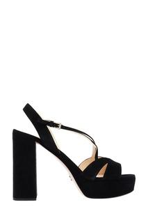 Черные замшевые босоножки на платформе Prada