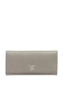 Серый кошелек из сафьяновой кожи Prada