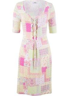 Платье с коротким рукавом (белый/лимонный сорбет с узором) Bonprix