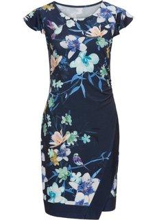 Платье трикотажное, с цветочным принтом (полуночная синь с рисунком) Bonprix