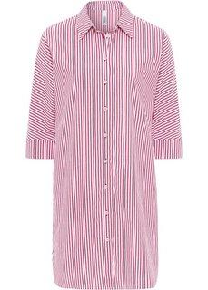 Платье-рубашка с широкими манжетами (красный/белый в полоску) Bonprix