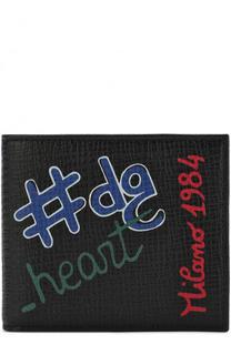Кожаное портмоне с отделениями для кредитных карт и принтом Dolce & Gabbana