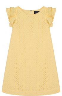 Хлопковое мини-платье с кружевной отделкой и оборками Polo Ralph Lauren