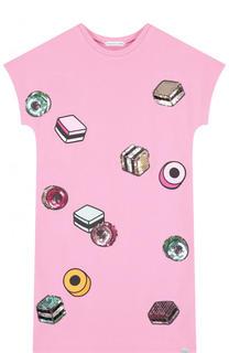 Мини-платье джерси с принтом и пайетками Marc Jacobs