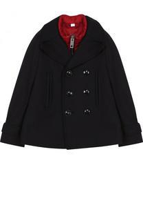 Двубортное шерстяное пальто с пуховой подстежкой Burberry