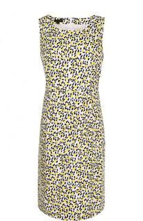 Приталенное хлопковое платье с принтом Escada