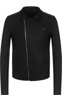 Кожаная куртка с косой молнией и воротником-стойкой Rick Owens