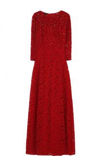 Кружевное платье-макси с укороченным рукавом Escada