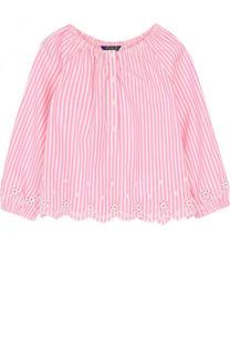 Хлопковая блуза свободного кроя с вышивкой и фестонами Polo Ralph Lauren
