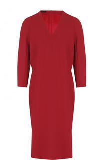 Приталенное мини-платье с укороченным рукавом и V-образным вырезом Escada