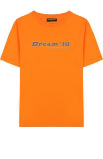 Хлопковая футболка с надписью Balenciaga
