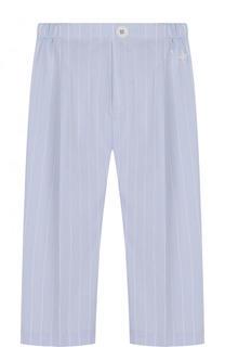Хлопковые брюки прямого кроя в полоску с эластичной вставкой на поясе Il Gufo