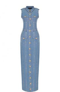 Приталенное джинсовое платье-макси без рукавов Balmain