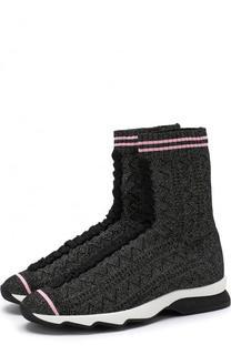 Высокие текстильные кроссовки Rockocko с контрастной отделкой Fendi