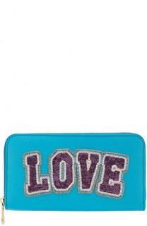 Кожаное портмоне на молнии с аппликацией из бисера Dolce & Gabbana
