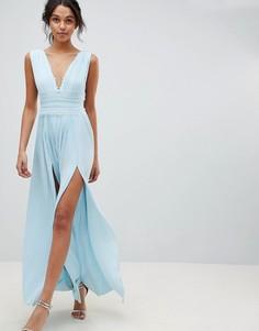 Плиссированное платье макси с кружевной вставкой ASOS DESIGN - Синий