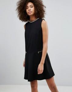 Свободное платье с молниями QED London - Черный