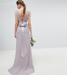 Платье макси из сатина с бантом на спине TFNC Tall - Серый