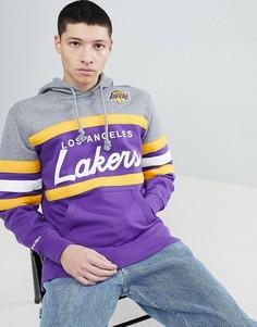 Худи фиолетового цвета со вставкой Mitchell & Ness NBA Lakers - Фиолетовый