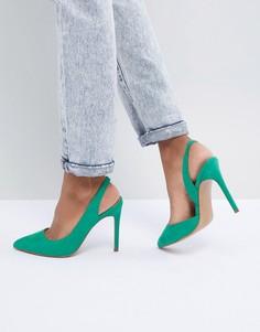 Туфли на каблуке с острым носком и ремешком на пятке ASOS DESIGN Prefect - Зеленый